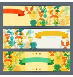 Horizontal banners with trophies and awards vector