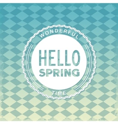 Hello spring retro label vector