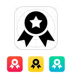 Medal with star icon vector