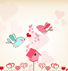 Valentines day background with birdhouse vector