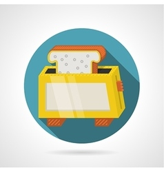 Flat color icon for yellow toaster vector