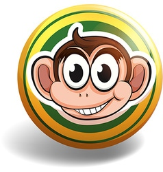 Monkey on round badge vector image