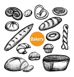 Hand drawn bakery set vector