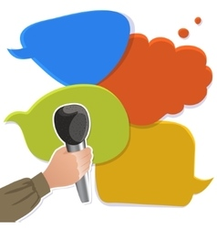 Hand with microphone on speech bubbles vector