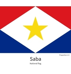 National flag of saba with correct proportions vector