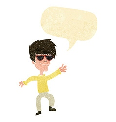 Cartoon waving cool guy with speech bubble vector