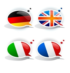 Speech bubbles with symbols national flags vector