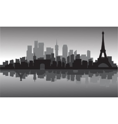 silhouette of city and eiffel tower vector image