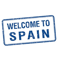 Welcome to spain blue grunge square stamp vector