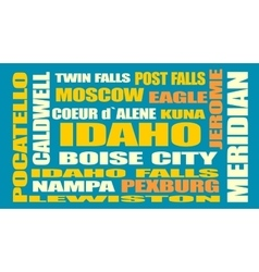Idaho state cities list vector