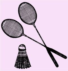 Badminton racket shuttlecock vector image vector image