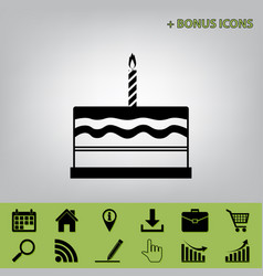 Birthday cake sign black icon at gray vector