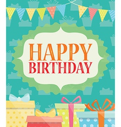 Birthday Card with Present and Gift Box vector image vector image