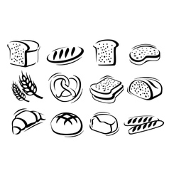 Bread icon set vector