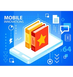 bright mobile phone and books on blue backgr vector image vector image