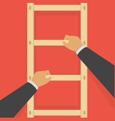 Businessman on a ladder vector