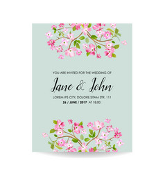 card with spring cherry flowers for wedding vector image vector image