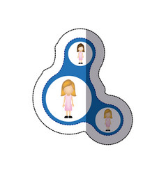 Color women connection her daughters icon vector