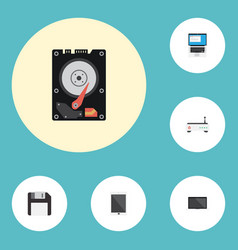 Flat icons palmtop hard disk diskette and other vector