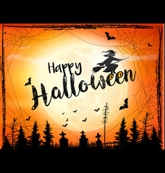 Halloween spooky background with broomstick vector