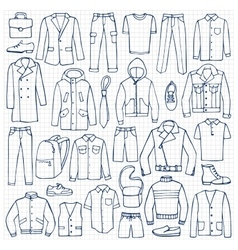 Hand drawn doodle set with man clothes vector image vector image