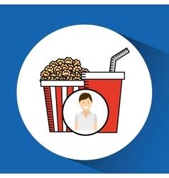 Happy woman cartoon cinema fast food vector