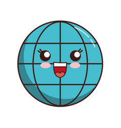Kawaii global sphere icon vector