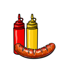 Ketchup mustard and grilled roasted sausage vector