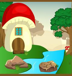 Mushroom house in the woods vector