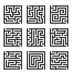 Nine simple maze isolated set vector image