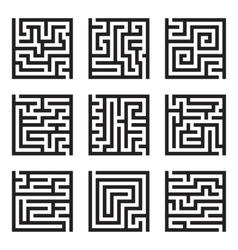 Nine simple maze isolated set vector