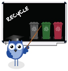owl blackboard recycle vector image vector image