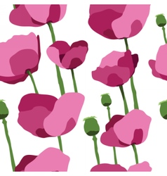 Pink poppies seamless pattern vector image