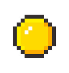 pixel art golden coin retro video game vector image