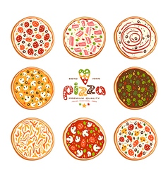 Pizza varieties vector