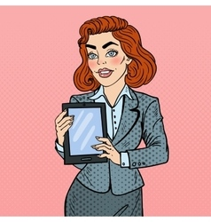 Pop art business woman holding digital tablet vector