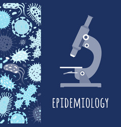 poster with microscope and microbes vector image vector image