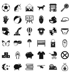 Preschool establishment icons set simple style vector