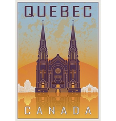 Quebec vintage poster vector image vector image