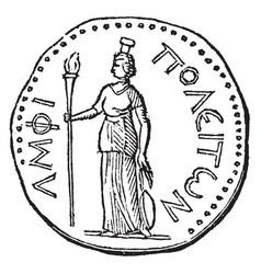 Roman coin vintage vector