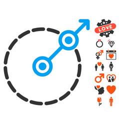 Round area exit icon with love bonus vector