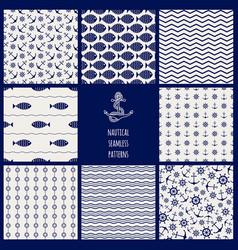 set of 8 seamless nautical patterns vector image
