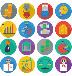 Set of sixteen icons business management and human vector