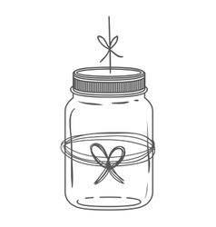 Silhouette glass jar with thread in bow shape vector