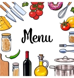 Square vegetable kitchenware cheese and pasta vector image vector image