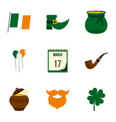St patrick holiday icon set flat style vector