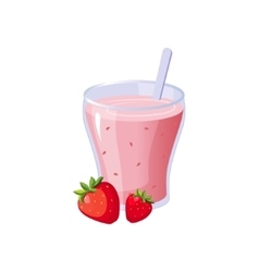Strawberry Smoothie Breakfast Food Element vector image