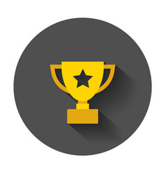 Trophy cup flat icon simple winner symbol with vector