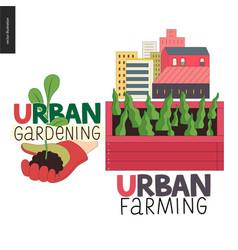 Urban farming and gardening logos vector