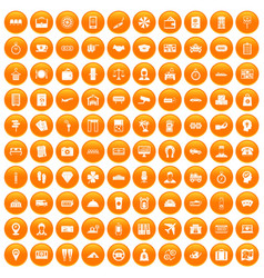 100 paying money icons set orange vector